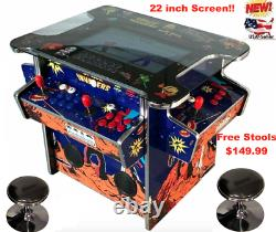 4 PLAYER Cocktail Arcade Machine1162 Classic Games 145LB + 2 STOOLS NEW