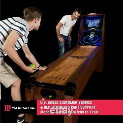 Arcade Skeeball 9' Game Room Table with LED Scorer, Lights, and Sound Effects