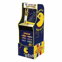 Arcade1Up Super Pac-Man Mini Arcade Game Cabinet Bundle, 7 Games In 1, w Riser