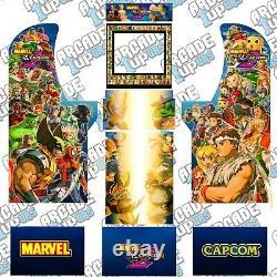 Arcade1up Arcade Cabinet Graphic Decal Complete Kits Marvel vs. Capcom 2 v2