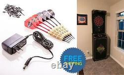 Electronic Dartboard Cabinet Display Dart Board Soft Tip Darts Set Arcade Game