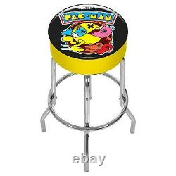 Pacman Stool Adjustable With Extending Legs Foam Padding Chrome Plated