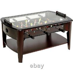 WOODEN FOOSBALL COFFEE TABLE Arcade Game Room Wood Family Sports Indoor Soccer